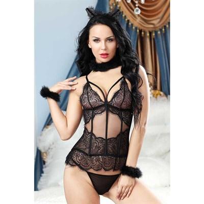 Комплект сексуальной кошки Candy Girl Kati, черный - XL (50-52)