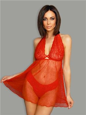 Бэби-долл с кружевным лифом и стрингами Amor El, красное - L/XL