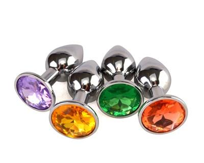 Плаг металл хром, цвет кристалла в ассортименте, D-28мм