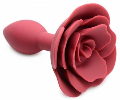 Анальная втулка со стопером в форме цветка, красный силикон, 8*3см