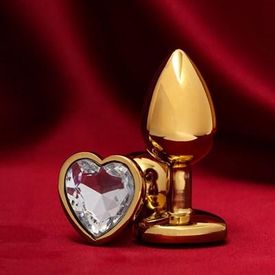 Втулка металл золото, стопер-сердце прозрачное, D 28 мм